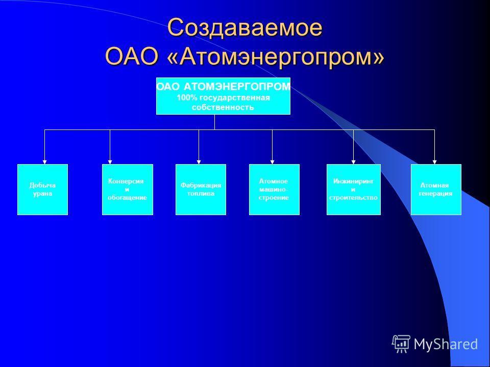 ОАО АТОМЭНЕРГОПРОМ 100% государственная собственность Добыча урана Конверсия и обогащение Фабрикация топлива Атомное машино- строение Инжиниринг и строительство Атомная генерация Создаваемое ОАО «Атомэнергопром»