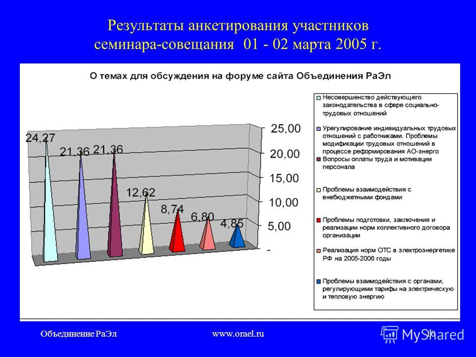Объединение РаЭлwww.orael.ru9 Позиция членов РаЭл в вопросе важности проблем законотворчества