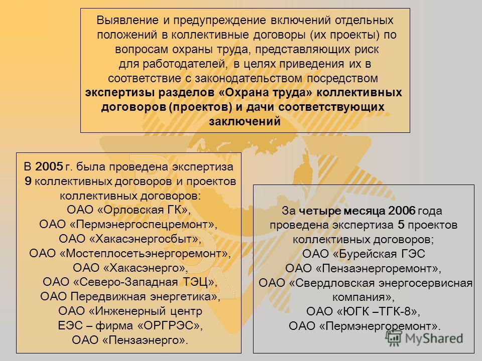 Выявление и предупреждение включений отдельных положений в коллективные договоры (их проекты) по вопросам охраны труда, представляющих риск для работодателей, в целях приведения их в соответствие с законодательством посредством экспертизы разделов «О