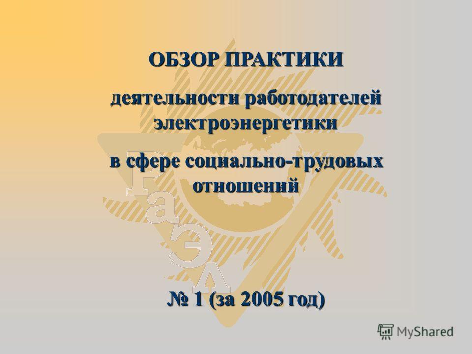 ОБЗОР ПРАКТИКИ деятельности работодателей электроэнергетики в сфере социально-трудовых отношений 1 (за 2005 год) 1 (за 2005 год)