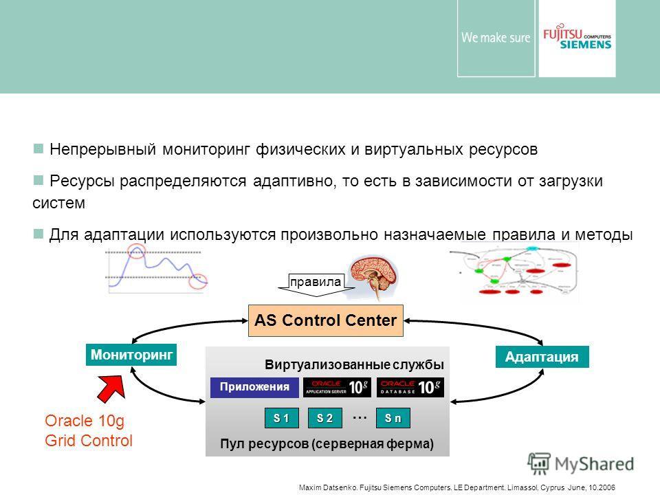 Maxim Datsenko. Fujitsu Siemens Computers. LE Department. Limassol, Cyprus June, 10.2006 Adaptive Services Control Center (ASCC) Непрерывный мониторинг физических и виртуальных ресурсов Ресурсы распределяются адаптивно, то есть в зависимости от загру