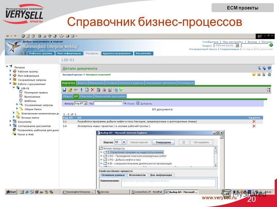 www.verysell.ru 20 ECM проекты Справочник бизнес-процессов