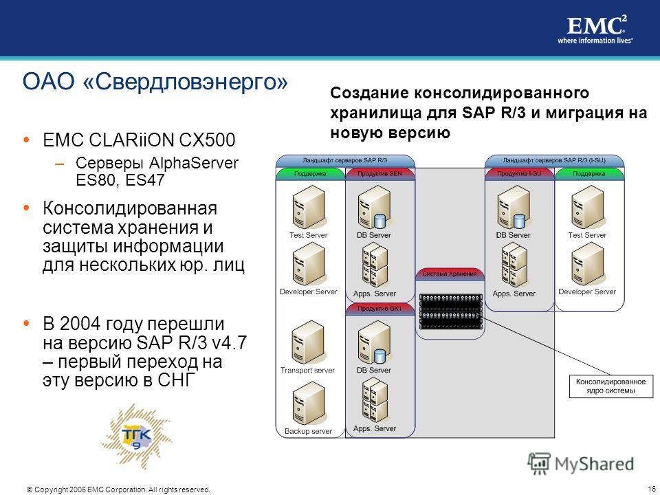 16 © Copyright 2006 EMC Corporation. All rights reserved. ОАО «Свердловэнерго» EMC CLARiiON CX500 –Серверы AlphaServer ES80, ES47 Консолидированная система хранения и защиты информации для нескольких юр. лиц В 2004 году перешли на версию SAP R/3 v4.7