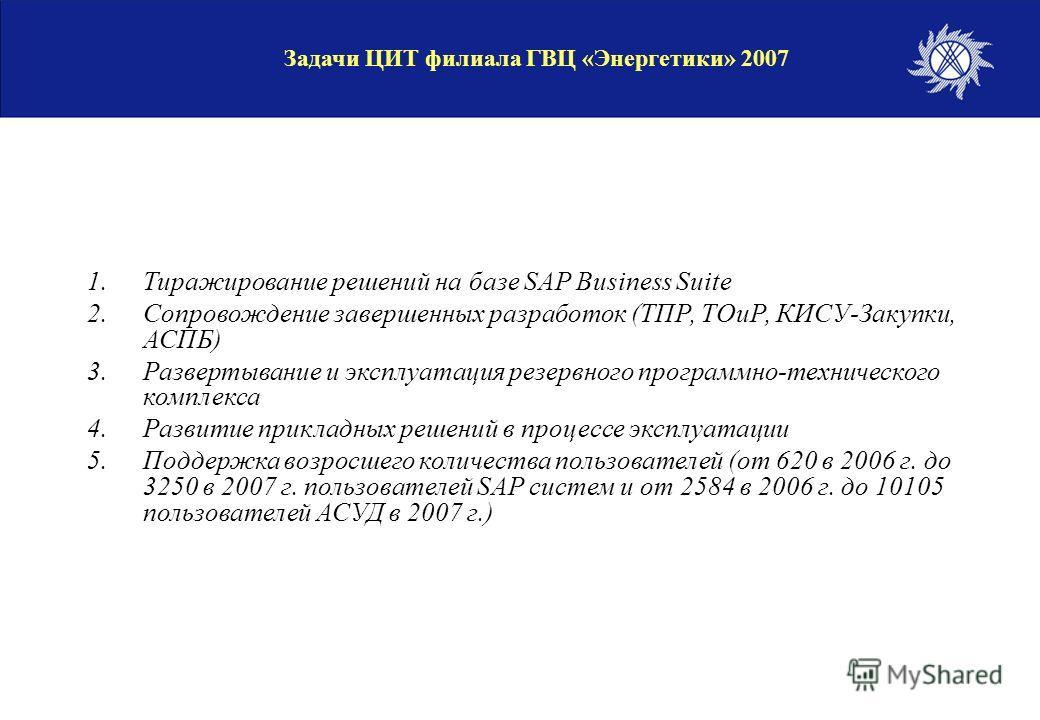 1.Тиражирование решений на базе SAP Business Suite 2.Сопровождение завершенных разработок (ТПР, ТОиР, КИСУ-Закупки, АСПБ) 3.Развертывание и эксплуатация резервного программно-технического комплекса 4.Развитие прикладных решений в процессе эксплуатаци