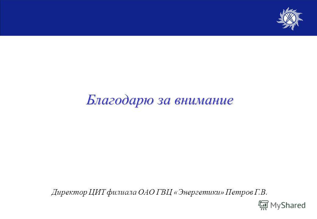 Благодарю за внимание Директор ЦИТ филиала ОАО ГВЦ «Энергетики» Петров Г.В.