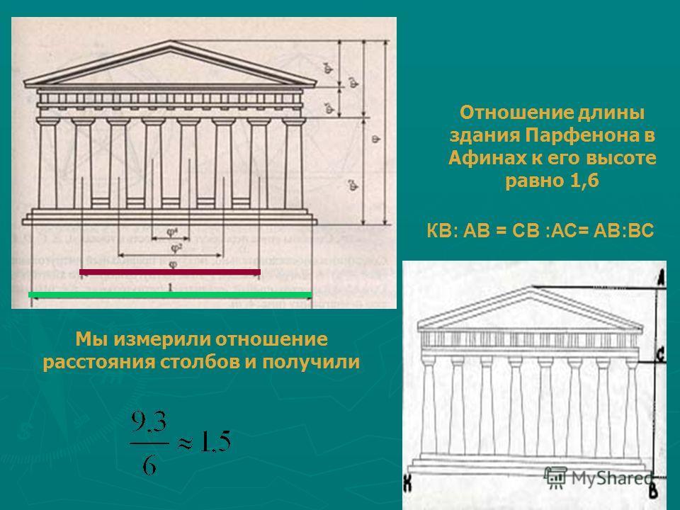 Мы измерили отношение расстояния столбов и получили КВ: АВ = СВ :АС= АВ:ВС Отношение длины здания Парфенона в Афинах к его высоте равно 1,6