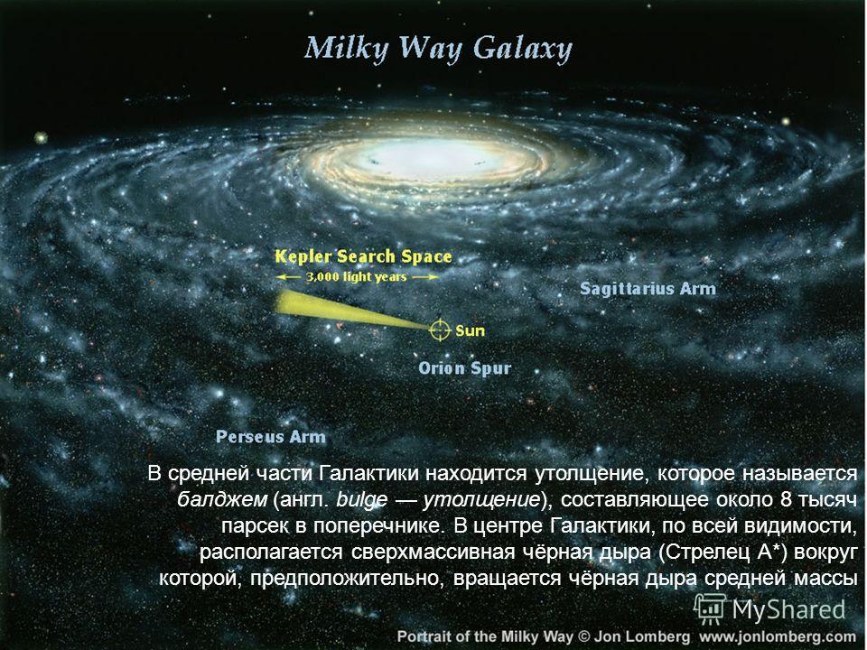 В средней части Галактики находится утолщение, которое называется балджем (англ. bulge утолщение), составляющее около 8 тысяч парсек в поперечнике. В центре Галактики, по всей видимости, располагается сверхмассивная чёрная дыра (Стрелец А*) вокруг ко