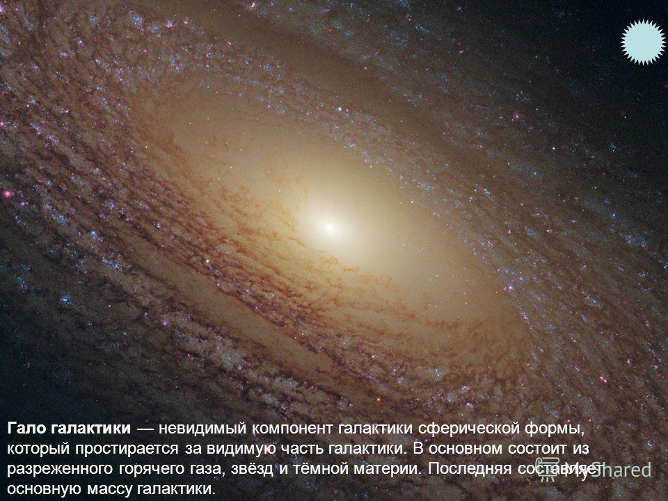Гало галактики невидимый компонент галактики сферической формы, который простирается за видимую часть галактики. В основном состоит из разреженного горячего газа, звёзд и тёмной материи. Последняя составляет основную массу галактики.