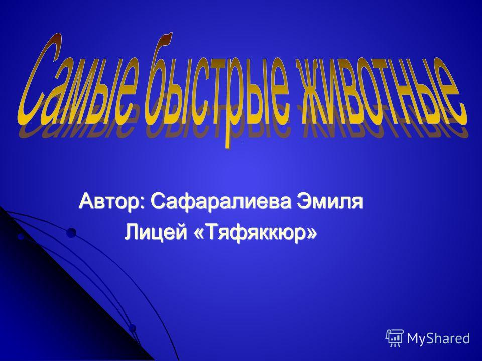 . Автор: Сафаралиева Эмиля Лицей «Тяфяккюр»
