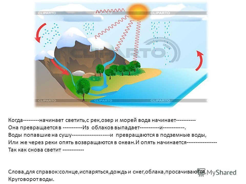 Когда---------начинает светить,с рек,озер и морей вода начинает----------- Она превращается в -----------Из облаков выпадает-----------и------------. Воды попавшие на сушу---------------------и превращаются в подземные воды, Или же через реки опять в