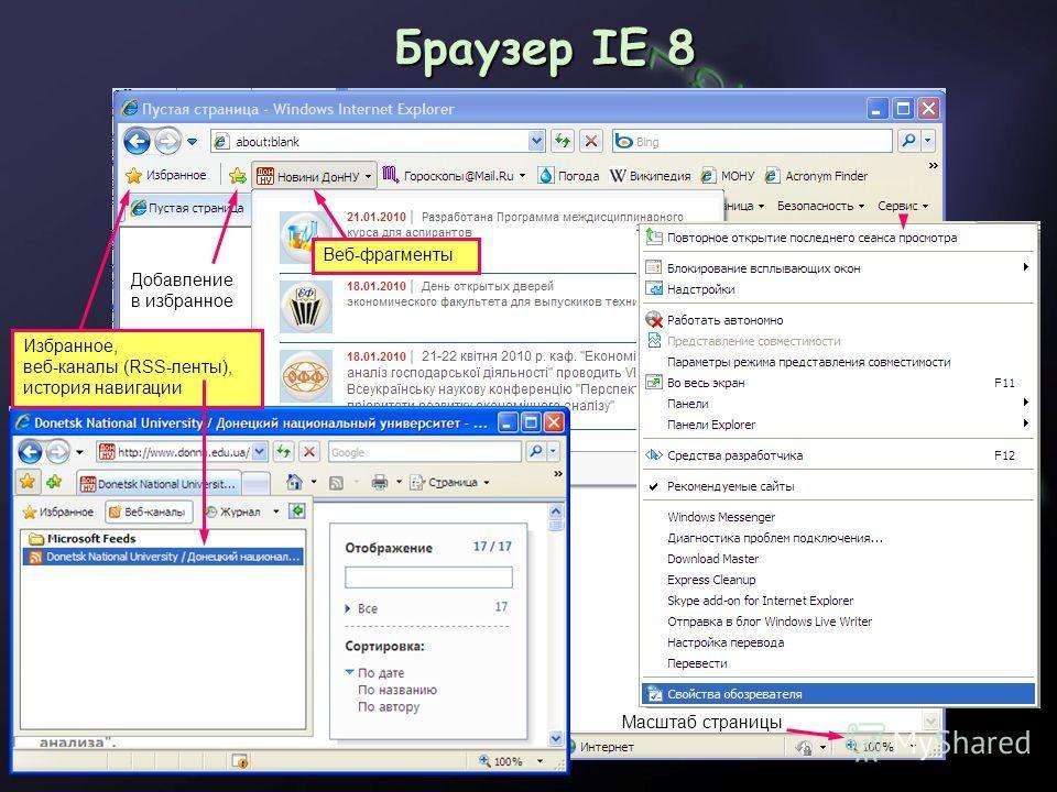 Браузер IE 8 Масштаб страницы Веб-фрагменты Добавление в избранное Избранное, веб-каналы (RSS-ленты), история навигации