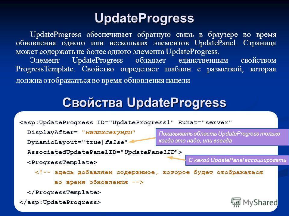 UpdateProgress UpdateProgress обеспечивает обратную связь в браузере во время обновления одного или нескольких элементов UpdatePanel. Страница может содержать не более одного элемента UpdateProgress. Элемент UpdateProgress обладает единственным свойс