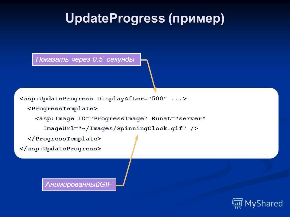 UpdateProgress (пример)  АнимированныйGIF Показать через 0.5 секунды