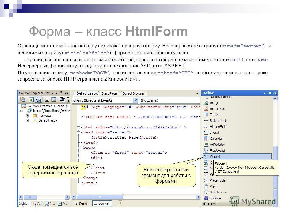 Форма – класс HtmlForm Страница может иметь только одну видимую серверную форму. Несеверных (без атрибута runat=server ) и невидимых (атрибут visible=false ) форм может быть сколько угодно. Страница выполняет возврат формы самой себе, серверная форма