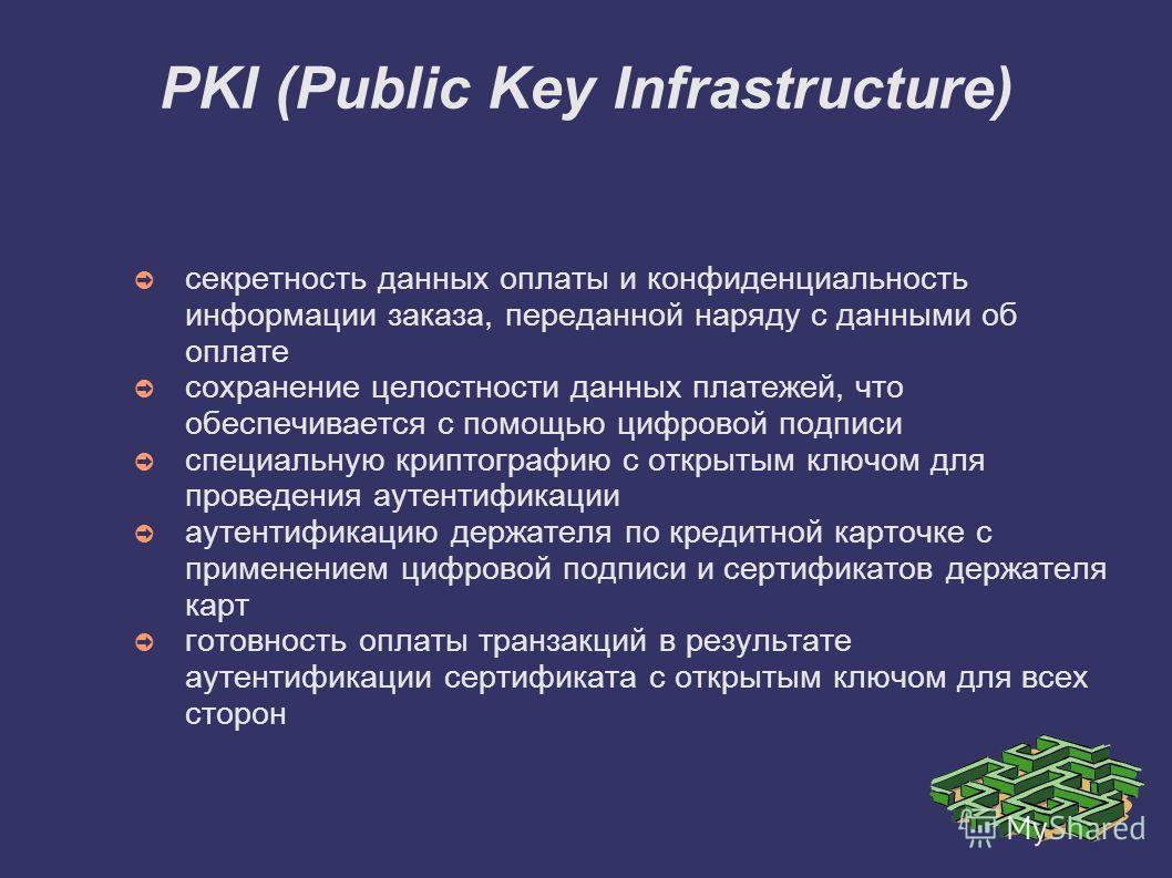PKI (Public Key Infrastructure) секретность данных оплаты и конфиденциальность информации заказа, переданной наряду с данными об оплате сохранение целостности данных платежей, что обеспечивается с помощью цифровой подписи специальную криптографию с о