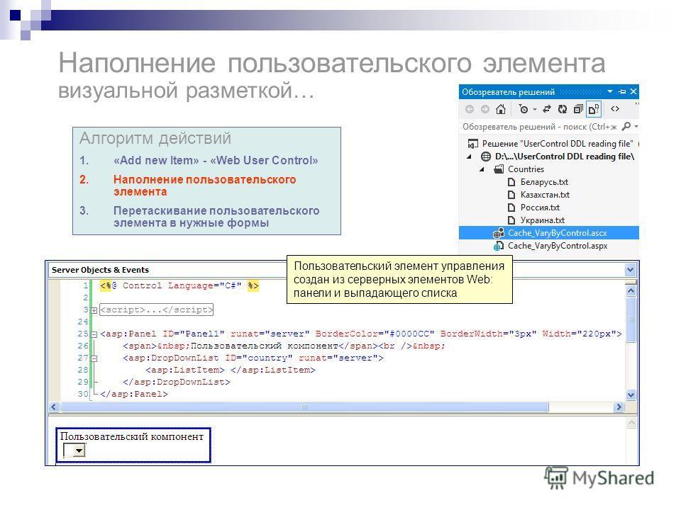 Наполнение пользовательского элемента визуальной разметкой… Алгоритм действий 1.«Add new Item» - «Web User Control» 2.Наполнение пользовательского элемента 3.Перетаскивание пользовательского элемента в нужные формы Пользовательский элемент управления
