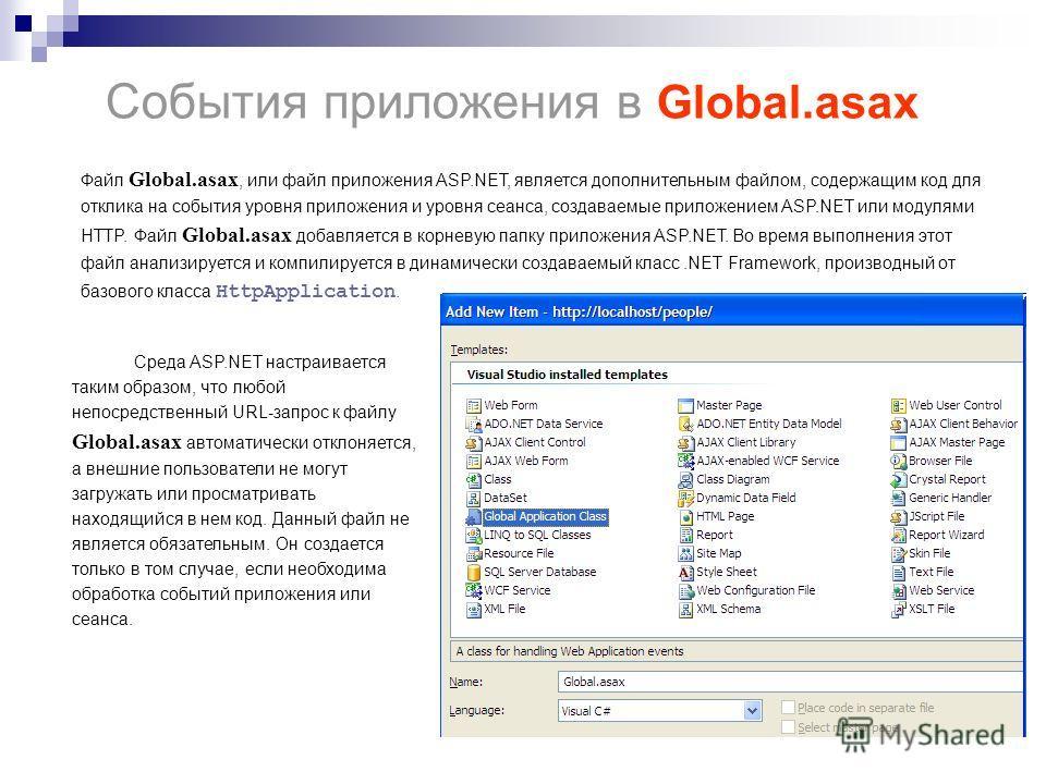 События приложения в Global.asax Файл Global.asax, или файл приложения ASP.NET, является дополнительным файлом, содержащим код для отклика на события уровня приложения и уровня сеанса, создаваемые приложением ASP.NET или модулями HTTP. Файл Global.as