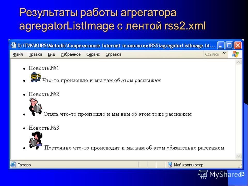 13 Результаты работы агрегатора agregatorListImage с лентой rss2.xml