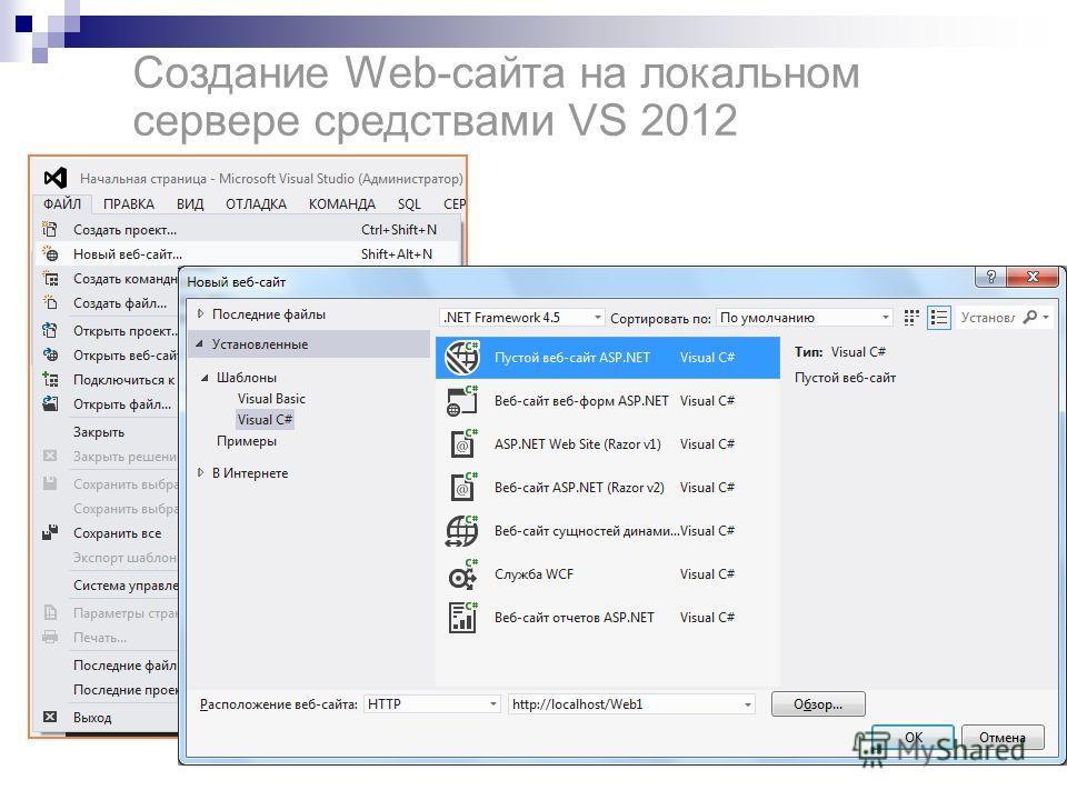Создание Web-сайта на локальном сервере средствами VS 2012