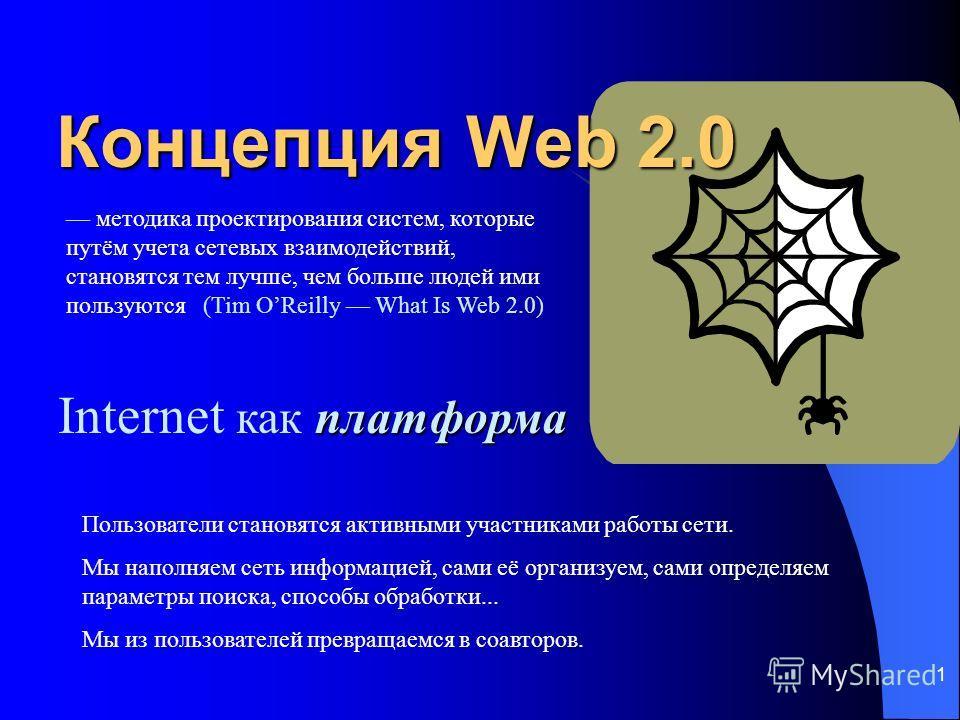 1 Концепция Web 2.0 Пользователи становятся активными участниками работы сети. Мы наполняем сеть информацией, сами её организуем, сами определяем параметры поиска, способы обработки... Мы из пользователей превращаемся в соавторов. платформа Internet
