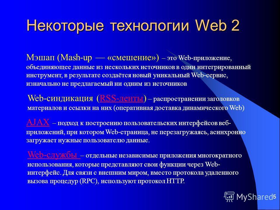 5 Web-синдикация (RSS-ленты) – распространении заголовков материалов и ссылки на них (оперативная доставка динамического Web)RSS-ленты AJAXAJAX – подход к построению пользовательских интерфейсов веб- приложений, при котором Web-страница, не перезагру