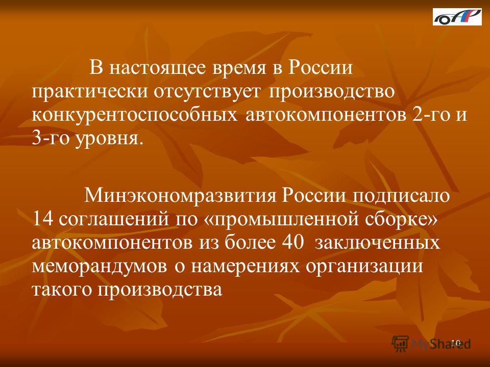 10 В настоящее время в России практически отсутствует производство конкурентоспособных автокомпонентов 2-го и 3-го уровня. Минэкономразвития России подписало 14 соглашений по «промышленной сборке» автокомпонентов из более 40 заключенных меморандумов