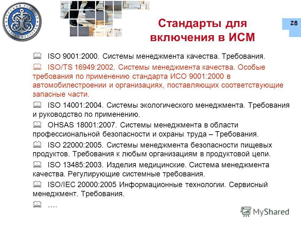28 Стандарты для включения в ИСМ ISO 9001:2000. Системы менеджмента качества. Требования. ISO/TS 16949:2002. Системы менеджмента качества. Особые требования по применению стандарта ИСО 9001:2000 в автомобилестроении и организациях, поставляющих соотв