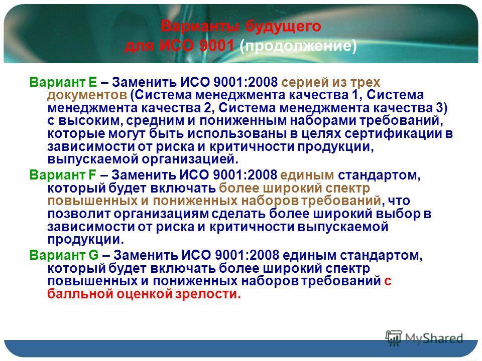 Варианты будущего для ИСО 9001 (продолжение) Вариант Е – Заменить ИСО 9001:2008 серией из трех документов (Система менеджмента качества 1, Система менеджмента качества 2, Система менеджмента качества 3) с высоким, средним и пониженным наборами требов