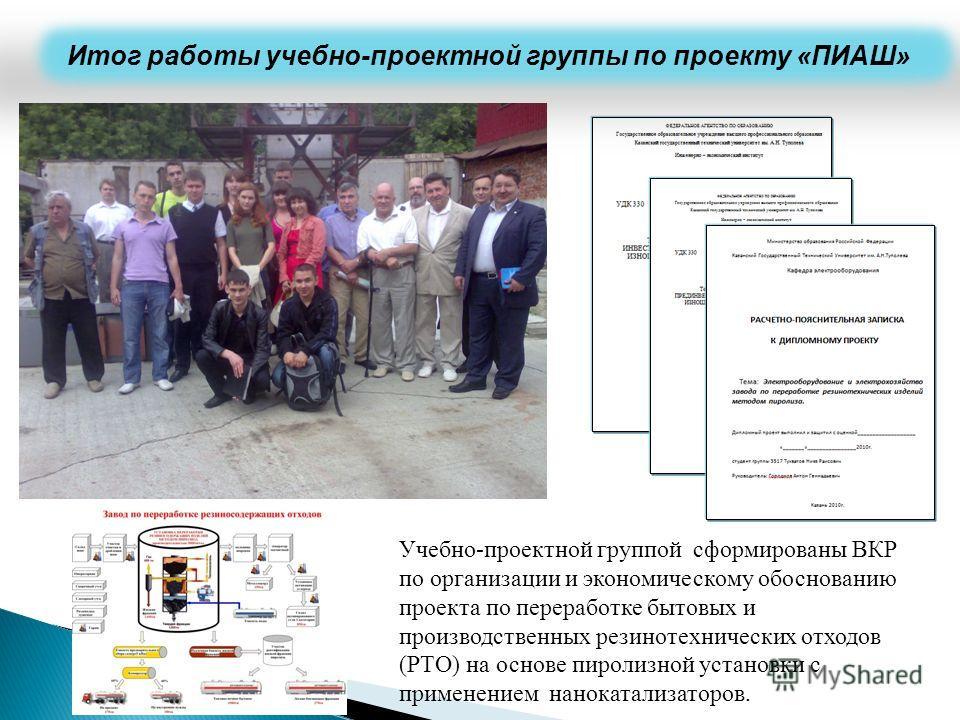 Итог работы учебно-проектной группы по проекту «ПИАШ» Учебно-проектной группой сформированы ВКР по организации и экономическому обоснованию проекта по переработке бытовых и производственных резинотехнических отходов (РТО) на основе пиролизной установ