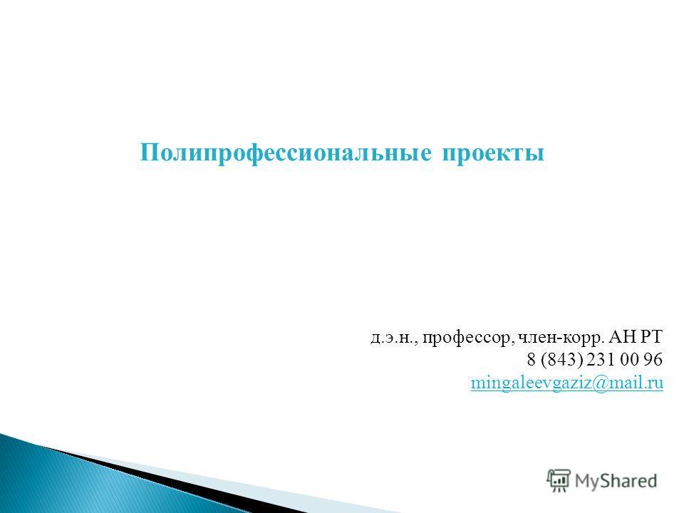 д.э.н., профессор, член-корр. АН РТ 8 (843) 231 00 96 mingaleevgaziz@mail.ru Полипрофессиональные проекты