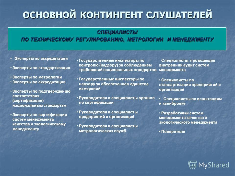 СПЕЦИАЛИСТЫ ПО ТЕХНИЧЕСКОМУ РЕГУЛИРОВАНИЮ, МЕТРОЛОГИИ И МЕНЕДЖМЕНТУ Эксперты по аккредитации Эксперты по стандартизации Эксперты по метрологии Эксперты по аккредитации Эксперты по подтверждению соответствия (сертификации) национальным стандартам Эксп