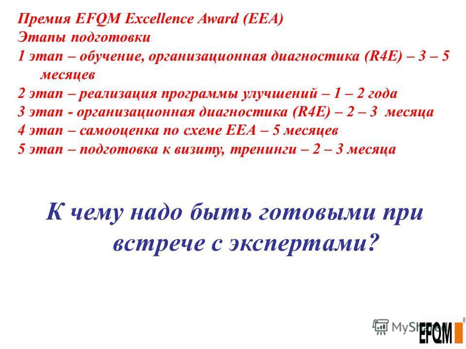 Премия EFQM Excellence Award (ЕЕА) Этапы подготовки 1 этап – обучение, организационная диагностика (R4E) – 3 – 5 месяцев 2 этап – реализация программы улучшений – 1 – 2 года 3 этап - организационная диагностика (R4E) – 2 – 3 месяца 4 этап – самооценк