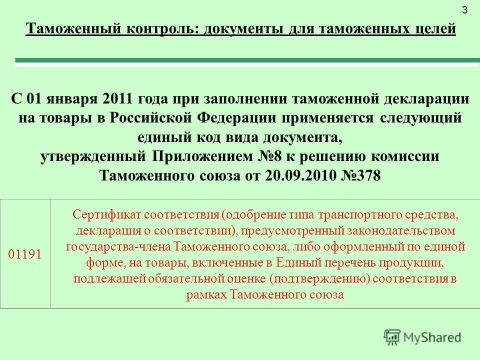 Таможенный контроль: документы для таможенных целей 3 С 01 января 2011 года при заполнении таможенной декларации на товары в Российской Федерации применяется следующий единый код вида документа, утвержденный Приложением 8 к решению комиссии Таможенно