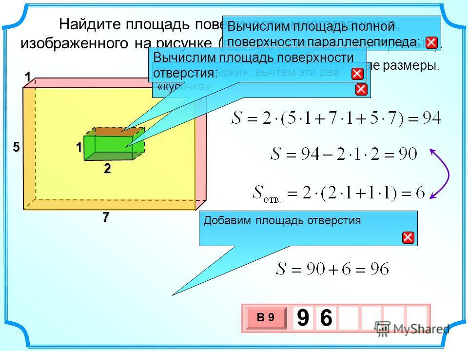 Найдите площадь поверхности многогранника, изображенного на рисунке (все двугранные углы прямые). Разместим дополнительные размеры. Вычислим площадь полной поверхности параллелепипеда: Добавим площадь отверстия 3 х 1 0 х В 9 9 6 11 7 5 2 1 Но есть «д