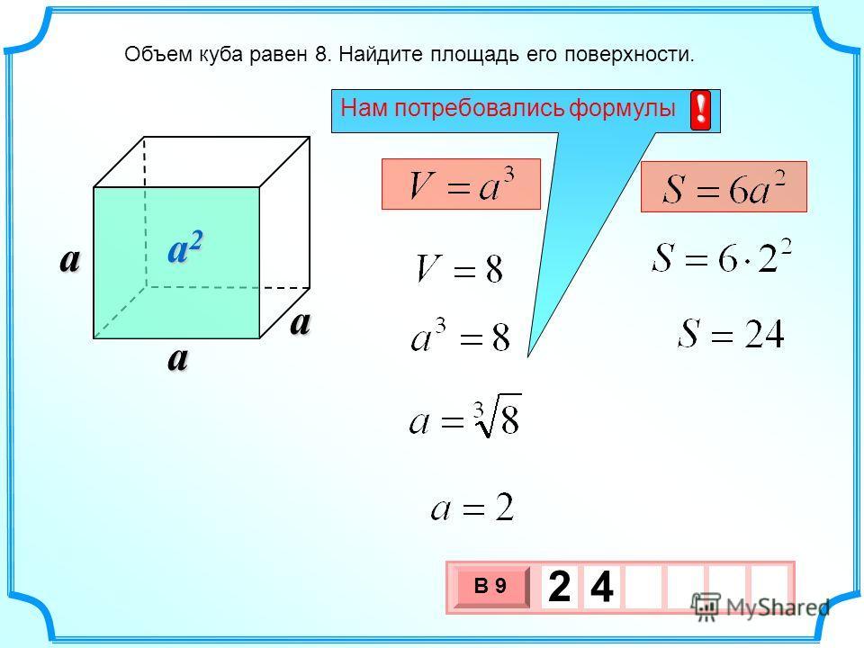 Объем куба равен 8. Найдите площадь его поверхности. a2a2a2a2 3 х 1 0 х В 9 2 4 aaa Нам потребовались формулы !