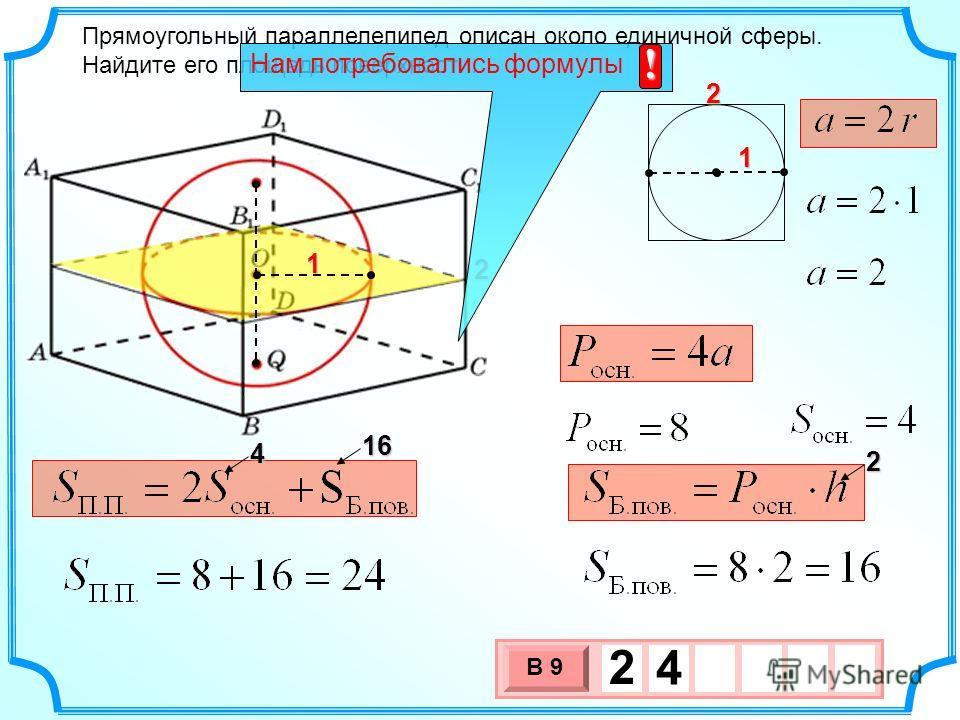 Прямоугольный параллелепипед описан около единичной сферы. Найдите его площадь поверхности. 1 1 16 4 3 х 1 0 х В 9 2 4 2 2 2 Нам потребовались формулы !