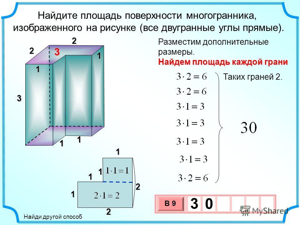 3 Найдите площадь поверхности многогранника, изображенного на рисунке (все двугранные углы прямые). Разместим дополнительные размеры. 3 2 2 1 111 Найдем площадь каждой грани Таких граней 2. 3 х 1 0 х В 9 3 0 1 1 2 23 1 1 1 1 Найди другой способ