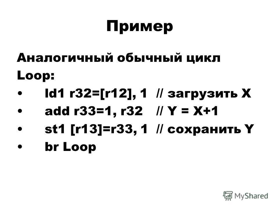 Пример Аналогичный обычный цикл Loop: ld1 r32=[r12], 1// загрузить X add r33=1, r32// Y = X+1 st1 [r13]=r33, 1// сохранить Y br Loop