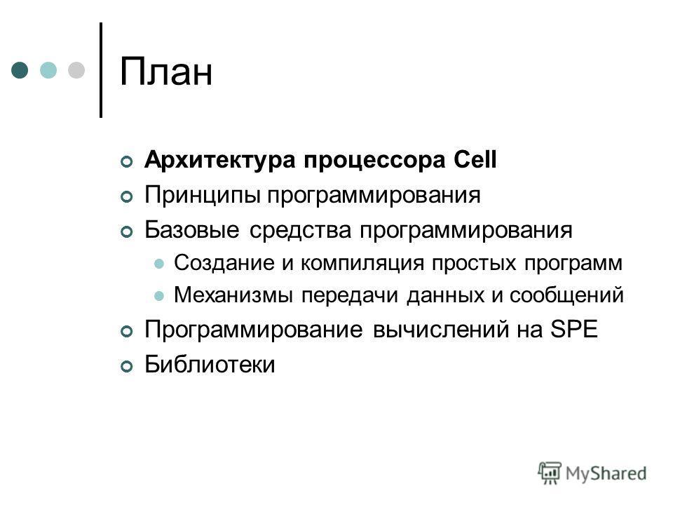 План Архитектура процессора Cell Принципы программирования Базовые средства программирования Создание и компиляция простых программ Механизмы передачи данных и сообщений Программирование вычислений на SPE Библиотеки