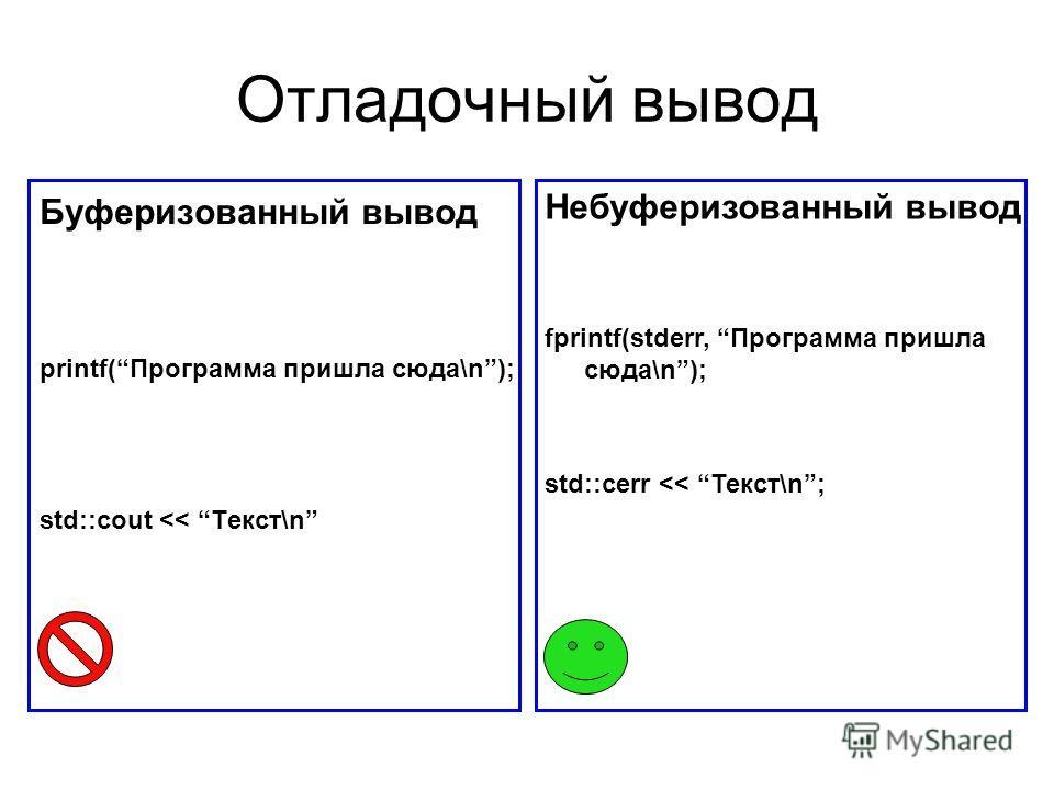 Отладочный вывод Буферизованный вывод printf(Программа пришла сюда\n); std::cout