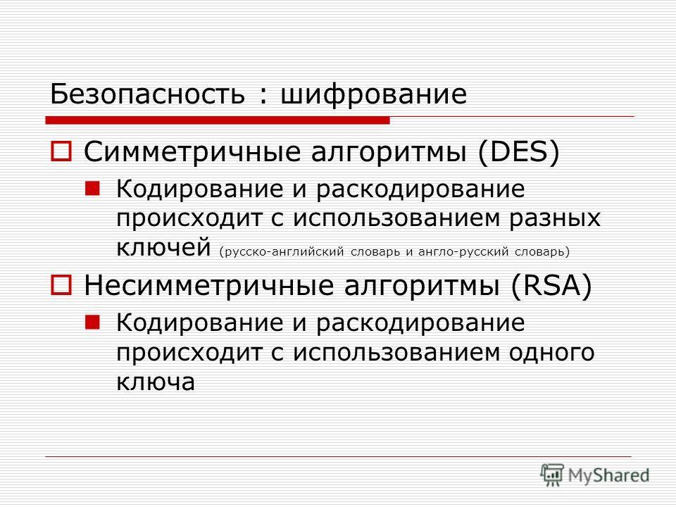 Безопасность : шифрование Симметричные алгоритмы (DES) Кодирование и раскодирование происходит с использованием разных ключей (русско-английский словарь и англо-русский словарь) Несимметричные алгоритмы (RSA) Кодирование и раскодирование происходит с