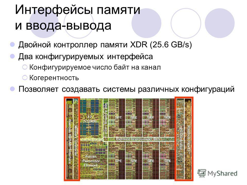 Интерфейсы памяти и ввода-вывода Двойной контроллер памяти XDR (25.6 GB/s) Два конфигурируемых интерфейса Конфигурируемое число байт на канал Когерентность Позволяет создавать системы различных конфигураций