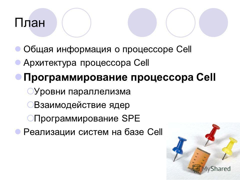 План Общая информация о процессоре Cell Архитектура процессора Cell Программирование процессора Cell Уровни параллелизма Взаимодействие ядер Программирование SPE Реализации систем на базе Cell