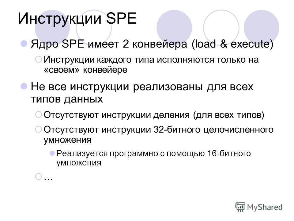 Инструкции SPE Ядро SPE имеет 2 конвейера (load & execute) Инструкции каждого типа исполняются только на «своем» конвейере Не все инструкции реализованы для всех типов данных Отсутствуют инструкции деления (для всех типов) Отсутствуют инструкции 32-б