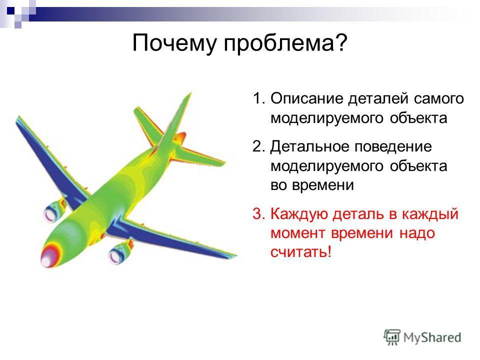 Почему проблема? 1.Описание деталей самого моделируемого объекта 2.Детальное поведение моделируемого объекта во времени 3.Каждую деталь в каждый момент времени надо считать!