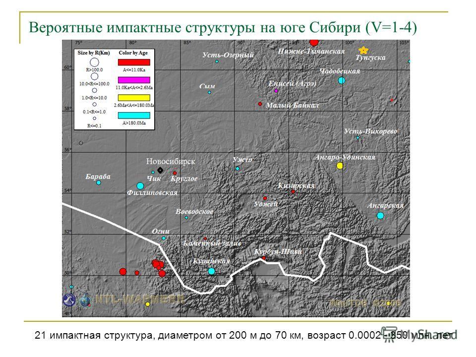 Вероятные импактные структуры на юге Сибири (V=1-4) 21 импактная структура, диаметром от 200 м до 70 км, возраст 0.0002 - 350 млн. лет