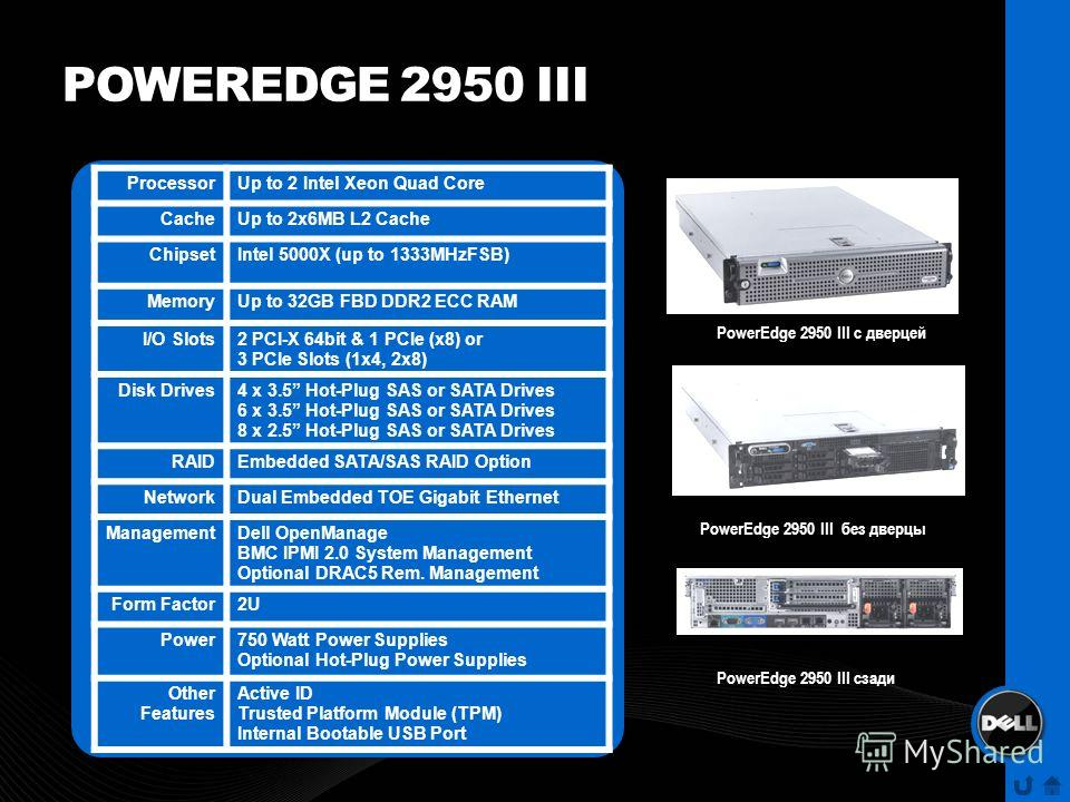 POWEREDGE 2950 III ProcessorUp to 2 Intel Xeon Quad Core CacheUp to 2x6MB L2 Cache ChipsetIntel 5000X (up to 1333MHzFSB) MemoryUp to 32GB FBD DDR2 ECC RAM I/O Slots2 PCI-X 64bit & 1 PCIe (x8) or 3 PCIe Slots (1x4, 2x8) Disk Drives4 x 3.5 Hot-Plug SAS