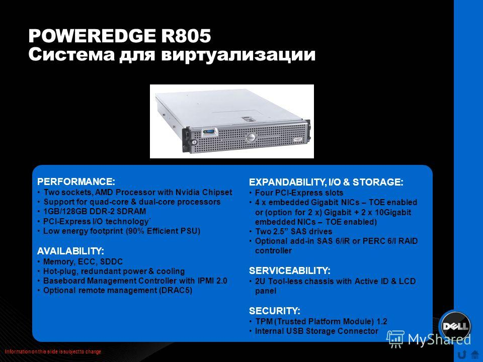 POWEREDGE R805 Система для виртуализации PERFORMANCE: Two sockets, AMD Processor with Nvidia Chipset Support for quad-core & dual-core processors 1GB/128GB DDR-2 SDRAM PCI-Express I/O technology` Low energy footprint (90% Efficient PSU) AVAILABILITY: