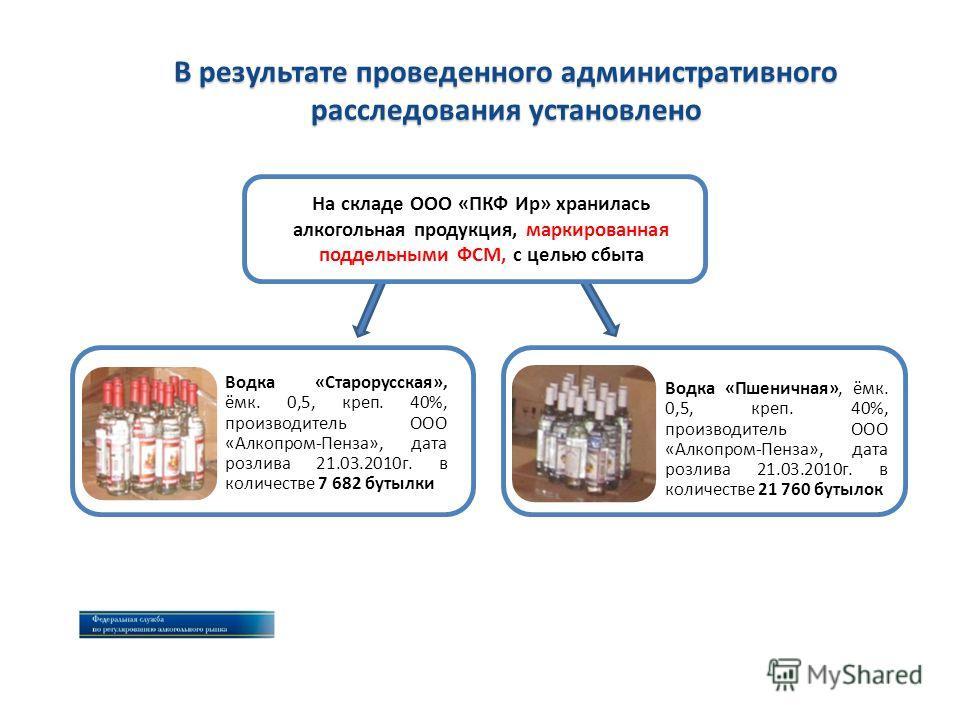 В результате проведенного административного расследования установлено На складе ООО «ПКФ Ир» хранилась алкогольная продукция, маркированная поддельными ФСМ, с целью сбыта Водка «Пшеничная», ёмк. 0,5, креп. 40%, производитель ООО «Алкопром-Пенза», дат