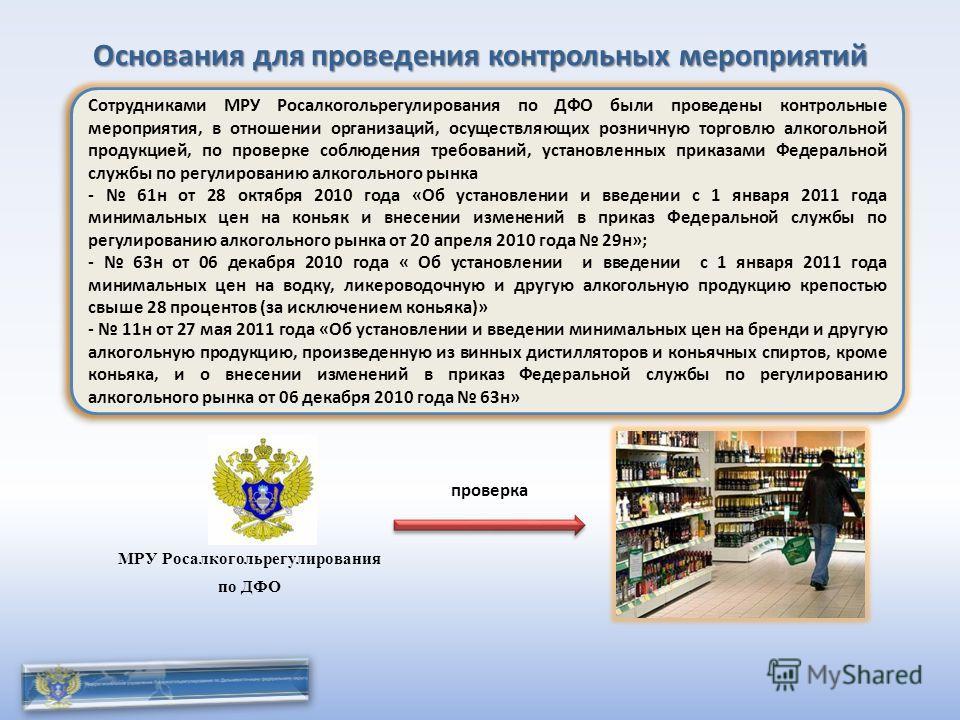 Основания для проведения контрольных мероприятий Сотрудниками МРУ Росалкогольрегулирования по ДФО были проведены контрольные мероприятия, в отношении организаций, осуществляющих розничную торговлю алкогольной продукцией, по проверке соблюдения требов